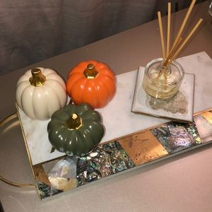 Halloween NWT Gold Ceramic Matte Pumpkin Decor